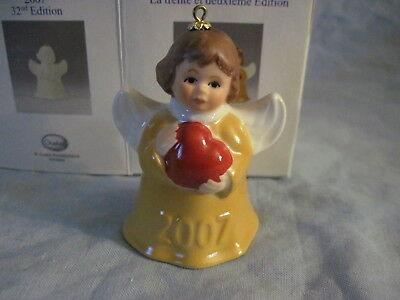 2007 Goebel ANGEL BELL ORNAMENT Yellow with Heart in Box FREE SHIPPING
