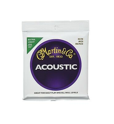 Martin 80/20 Acoustic Guitar Strings, Extra Light M170 (.010 - .047)