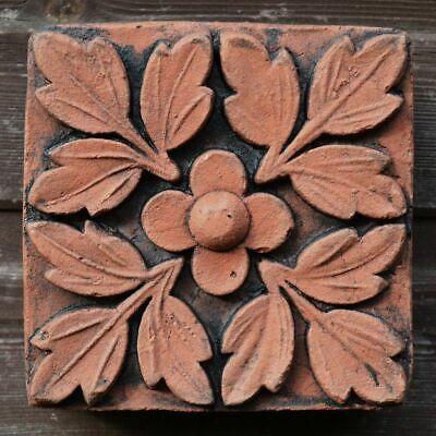 "Victorian decorative brick copy antiqued terracotta wall tile ""Quatrefoil"" 15cm"