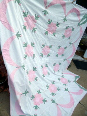 BEAUTIFUL SIGNED & DATED 1920 Rose of Sharon Applique Quilt Top Vintage