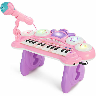 BCP 24-Key Kids Musical Electronic Keyboard w/ Drums, Microphone, MP3 - Pink