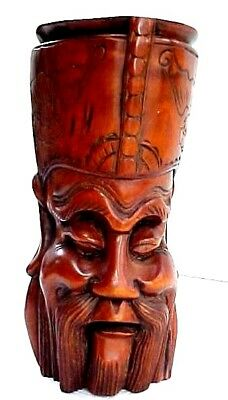Vintage Chinese CONFUCIUS Carved Hardwood Figure / Gorgeous Piece