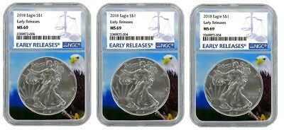 2018 1oz Silver American Eagle NGC MS69 - Early Releases - Eagle Core - 3 Pack