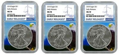 2018 1oz Silver American Eagle NGC MS70 - Early Releases - Eagle Core - 3 Pack