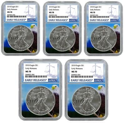 2018 1oz Silver American Eagle NGC MS70 - Early Releases - Eagle Core - 5 Pack