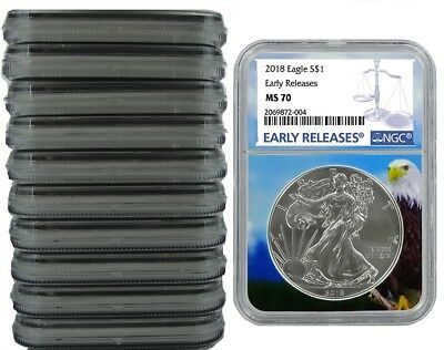 2018 1oz Silver American Eagle NGC MS70 - Early Releases - Eagle Core - 10 Pack