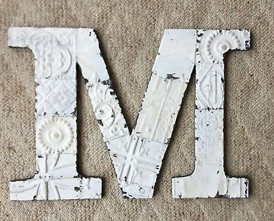 "Large Antique Tin Ceiling Wrapped 16"" Letter 'M'' Patchwork Metal White 92-18"