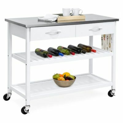 WHITE WOOD MOBILE Kitchen Island Counter Utility Cart Stainless ...