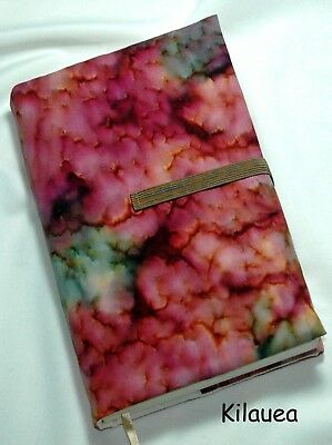 """8 x 5"""" Fabric Book Cover- Adjustable Thickness.  """"Kilauea"""" Print  Made in USA"""