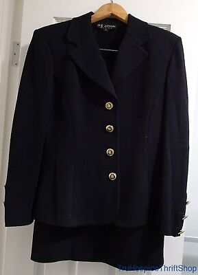 St John Basics Women's Two Piece Suit Size 12 Black with Gold Tone Accents