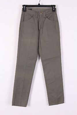 Vtg 60 Lee Leens Green Cotton Twill Tappered Pants Usa Womens Size 24X28