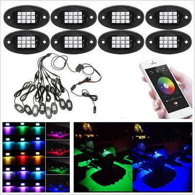 8In1 RGB LED Car Rock Light Wireless Bluetooth APP Underbody Chassis Decor Lamps