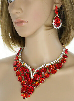 Gold Plated Red Ruby Rhinestone Crystal Necklace &  Earring Wedding Set