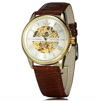 0b5552992d144 SEWOR New Auto Mechanical Wrist Watch Men Luxury Skeleton Dial Leather  Strap 03