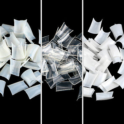 500 PCS Acrylic French Full Cover False Nail Art Tips White Clear Natural Color
