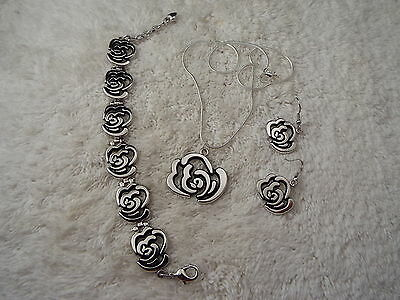 Silvertone Rose Pendant Necklace, Bracelet , Pierced Earrings Set (C33)