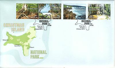 CHRISTMAS Island 2014  - NATIONAL PARK Complete set of 4 Stamps on FDC