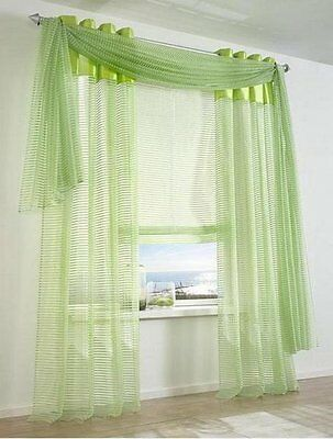 1 pièces organza STORE ROULANT 100 x 170 rayures vertes TRANSPARENT Boucles NEUF
