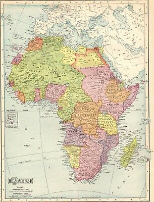 1910 Antique AFRICA Map Beautiful Original Vintage Map of Africa #4922
