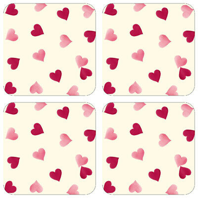 Emma Bridgewater Pink Hearts Four Melamine Surfaced Coasters (BOXED) NEW