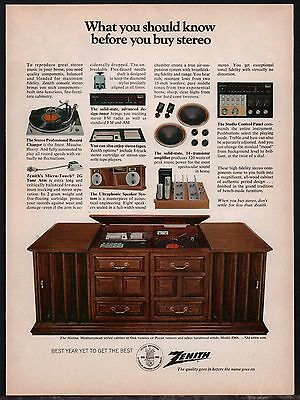 1968 ZENITH Moline Model Z966 Stereo Phonograph PRINT AD Advertising Page