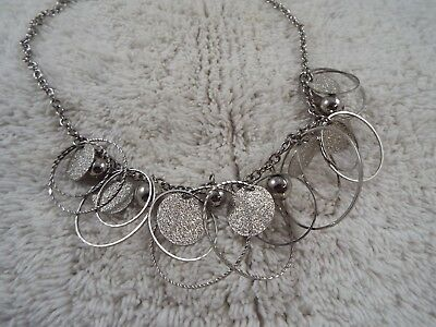 Silvertone Rings Beads Necklace (B36)