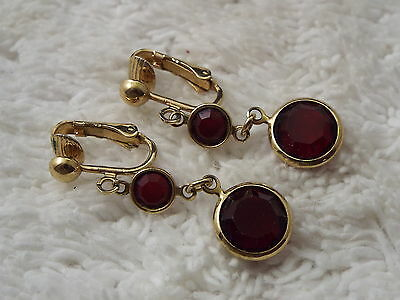 Goldtone Red Crystal Bead Clip-on Earrings (A43)