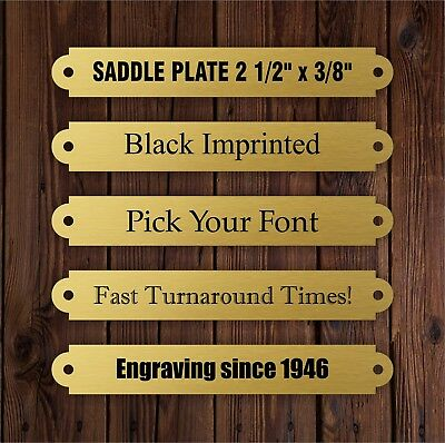 "BRASS SADDLE PLATE 2 1/2"" x 3/8"" Custom Imprinted Bridle Brow Halter Horse Show"
