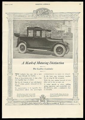 1918 Cadillac Landaulet car photo big vintage print ad