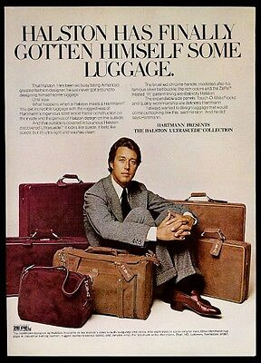 1974 Halston photo Hartmann Ultrasuede luggage briefcase suitcase print ad