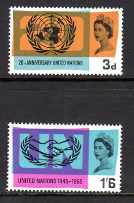 1965 GB 20th ANNIVERSARY OF UNITED NATIONS UN SG 681 - 682 MNH Stamp Set Mint