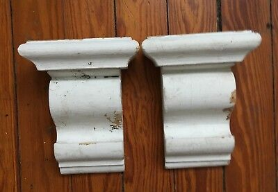 1910 Antique Pair(2) Wood Corbels Brackets Victorian Gingerbread White 104-18