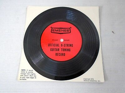 Rare Emenee 33RPM Official 6 String Guitar Tuning Record 1972 Mail Away Flexi