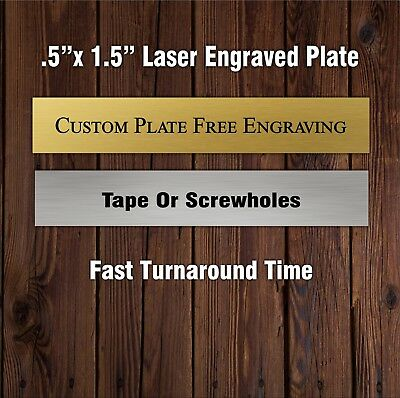 """1/2x 1 1/2"""" Engraved Plate Brass Colored Aluminum Taxidermy Art Trophy Flag"""