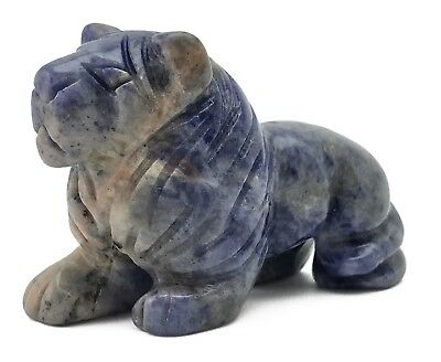 Lion Blue Sodalite Hand Carved Gemstone Animal Totem Statue Stone Sculpture