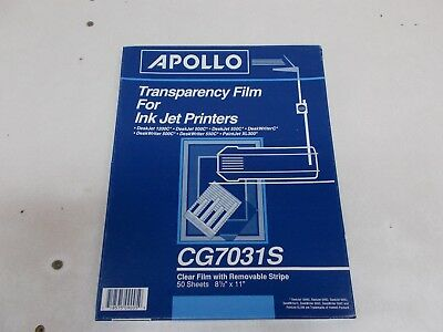 % Apollo Transparency Film for Ink Jet Printers w/Removable Stripe 48 Sheets