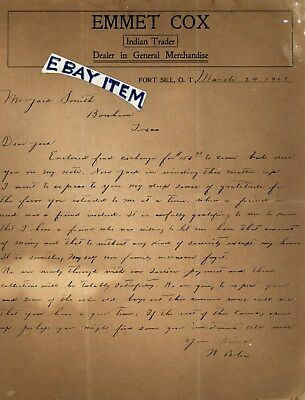1906 LTR. EMMET W.B COX INDIAN TRADER Fort SiLL Oklahoma Territory QUANAH PARKER