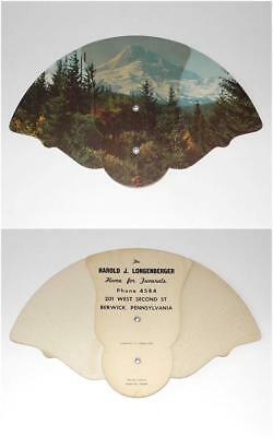1940s Vintage Advertising Paper Folding Fan LONGENBERGER FUNERAL HOME Berwick PA