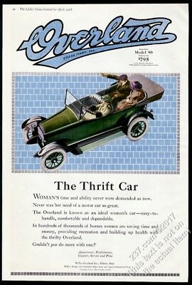 1918 Overland Model 90 open touring car color art BIG vintage print ad