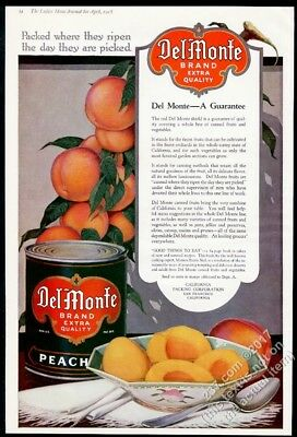 1918 Del Monte canned peaches BIG color art vintage print ad