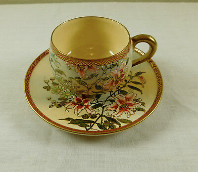 e) Antique Vintage Signed Japanese Satsuma Pottery Hand Painted Cup & Saucer