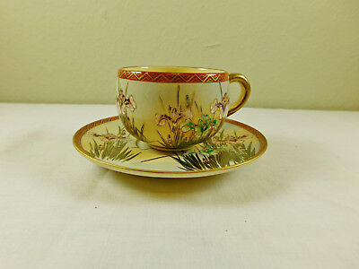 a) Antique Vintage Signed Japanese Satsuma Pottery Hand Painted Cup & Saucer