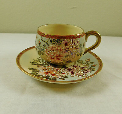 f) Antique Vintage Signed Japanese Satsuma Pottery Hand Painted Cup & Saucer