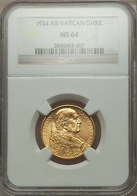 Vatican City 1934 100 Lire Gold Coin, Choice Uncirculated, Certified Ngc Ms-64