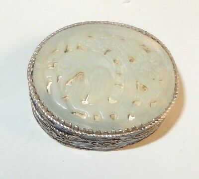 Chinese Carved Bird Design White Jade Cloisonne Enamel Pill Trinket Box