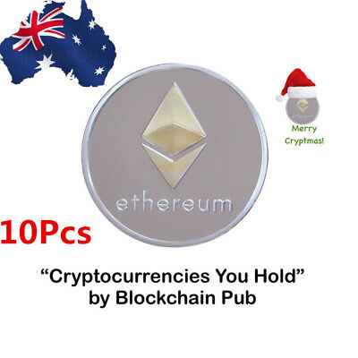 10Pcs Ethereum Miner Coin Gold Plated Commemorative Collectible Golden Iron ETH