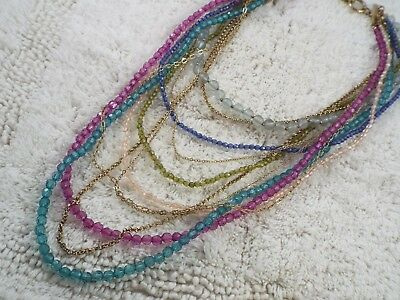 Goldtone Pink Blue Teal Acrylic Bead Multi Chain Necklace (B36)