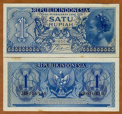 Indonesia, 1 Rupiah, 1956, P-74, Ch. UNC, Yellow Tone > Girl