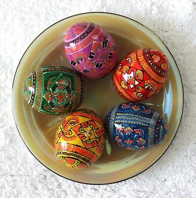 Ukrainian Set 5 Wooden Painted Easter Eggs Pysanka Pysanky Large Chicken Size