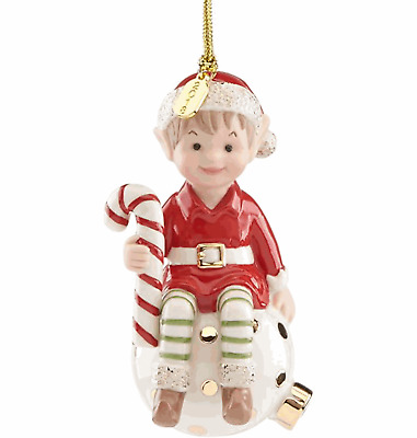 Lenox 2018 Eli the Elf Sitting on Ornament Holding Candy Cane